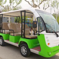 custom Green suit white electric sightseeing bus 11 seats cover